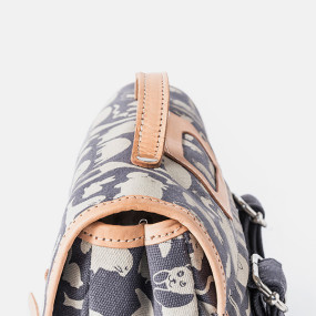 Gray canvas satchel with animal print by Fanny & Alexander - detail