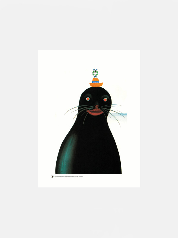 Bruno Munari Seal with a Hat Poster