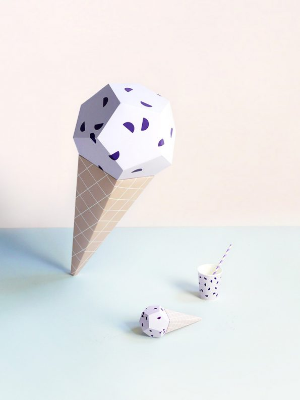 Giant Ice Cream Paper Sculpture Kit – Blueberry