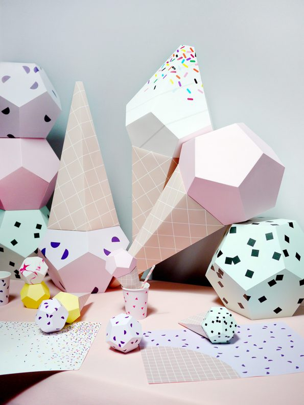 Giant ice cream paper sculpture kit strawberry moon picnic for Ice cream cone paper craft