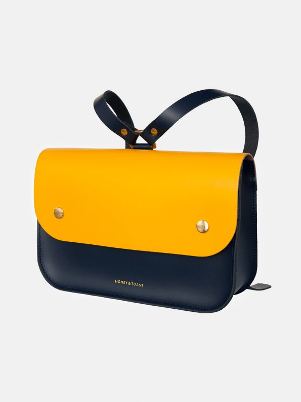 Ellison Satchel – Navy Blue & Sun Yellow