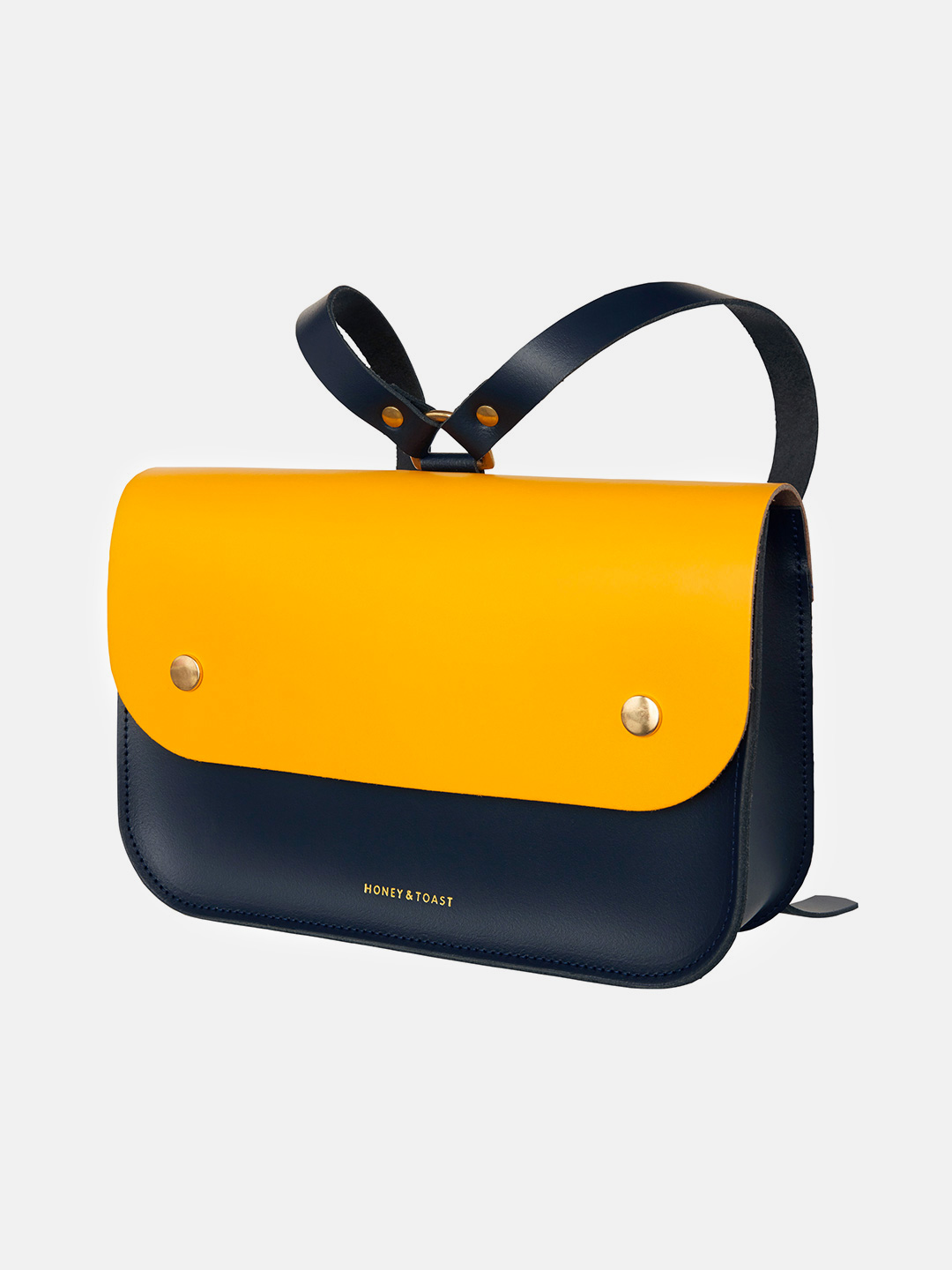 Ellison Satchel - Navy Blue & Sun Yellow