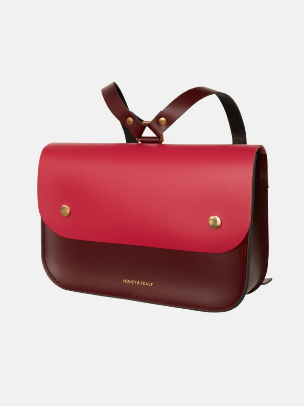 Ellison Satchel – Wine Gum Red & Bright Pink