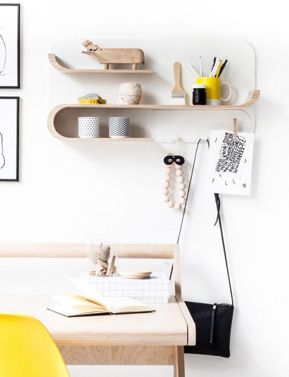 Rafa Kids M Shelf, European kids furniture design, natural plywood wall shelf for modern kids room and nursery decor