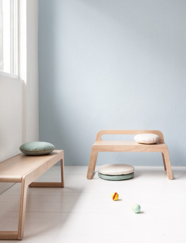 Rafa Kids BB bench, European kids furniture design, natural plywood bench with a low backrest for modern kids room