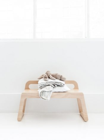 Rafa Kids furniture for modern nursery decor, BB90 bench in natural plywood