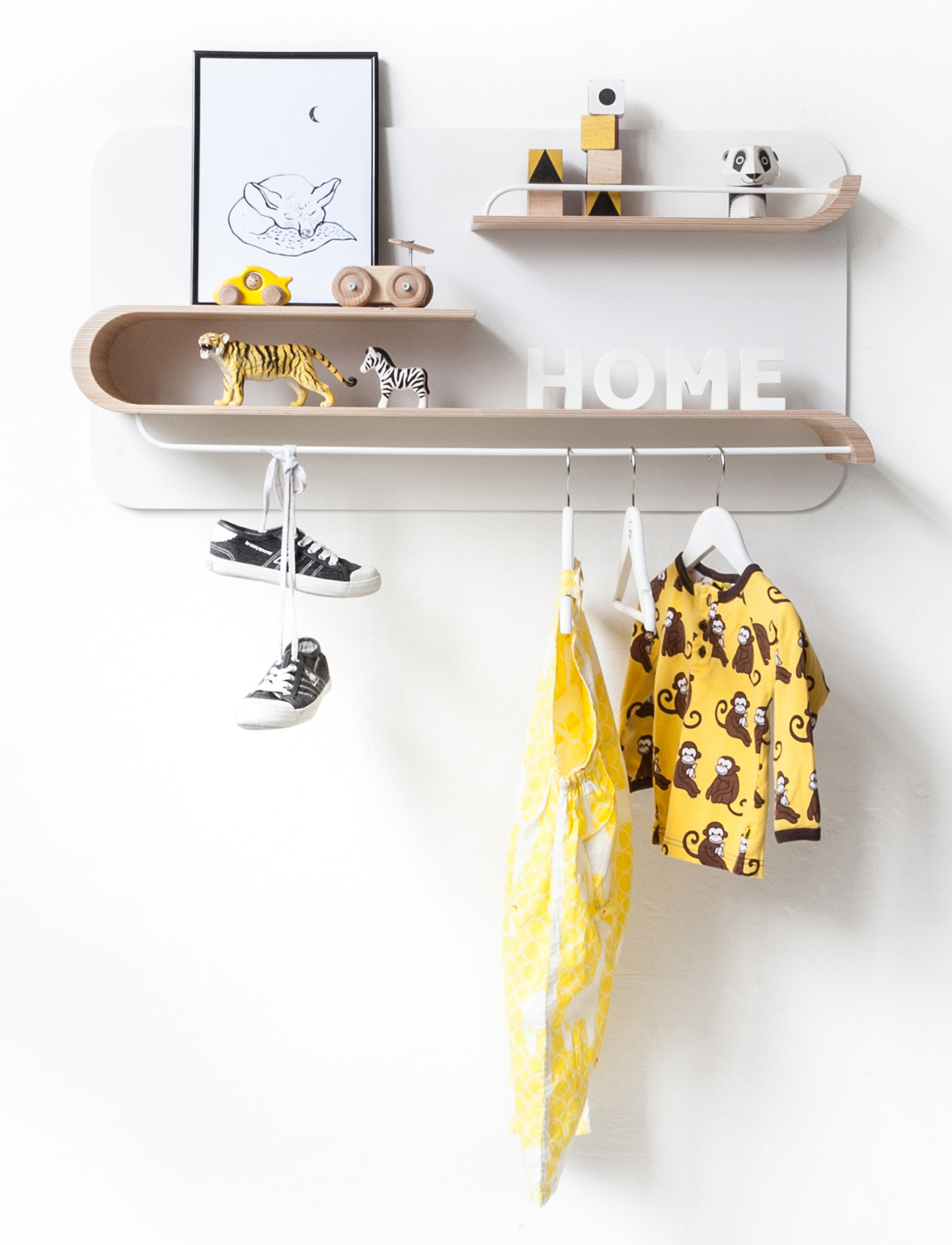Rafa Kids L Shelf, European kids furniture design, natural plywood wall shelf for modern kids room and nursery decor