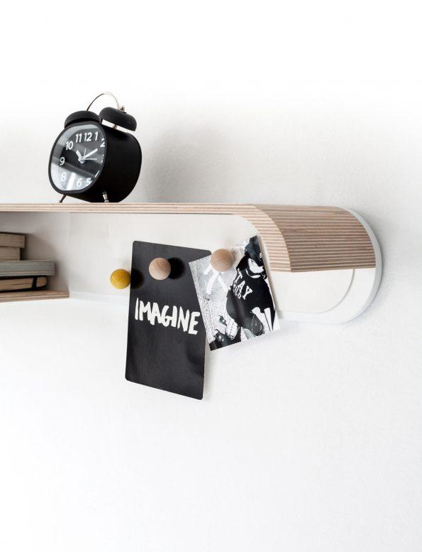 Rafa Kids furniture wall shelf in natural and white, modern kids room interior