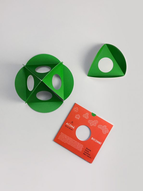 Geometric paper toy Acona Biconbi in Green, designed by Bruno Munari, mid-century design for children