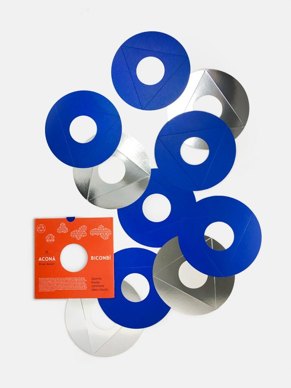 Geometric paper toy Acona Biconbi in Blue designed by Bruno Munari, mid-century design for children