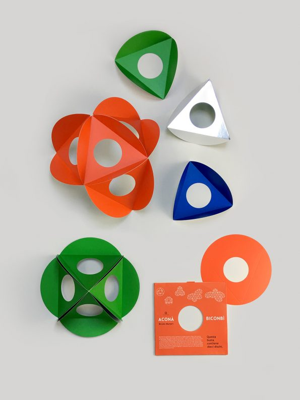 Geometric paper toy Acona Biconbi, designed by Bruno Munari, mid-century design for children