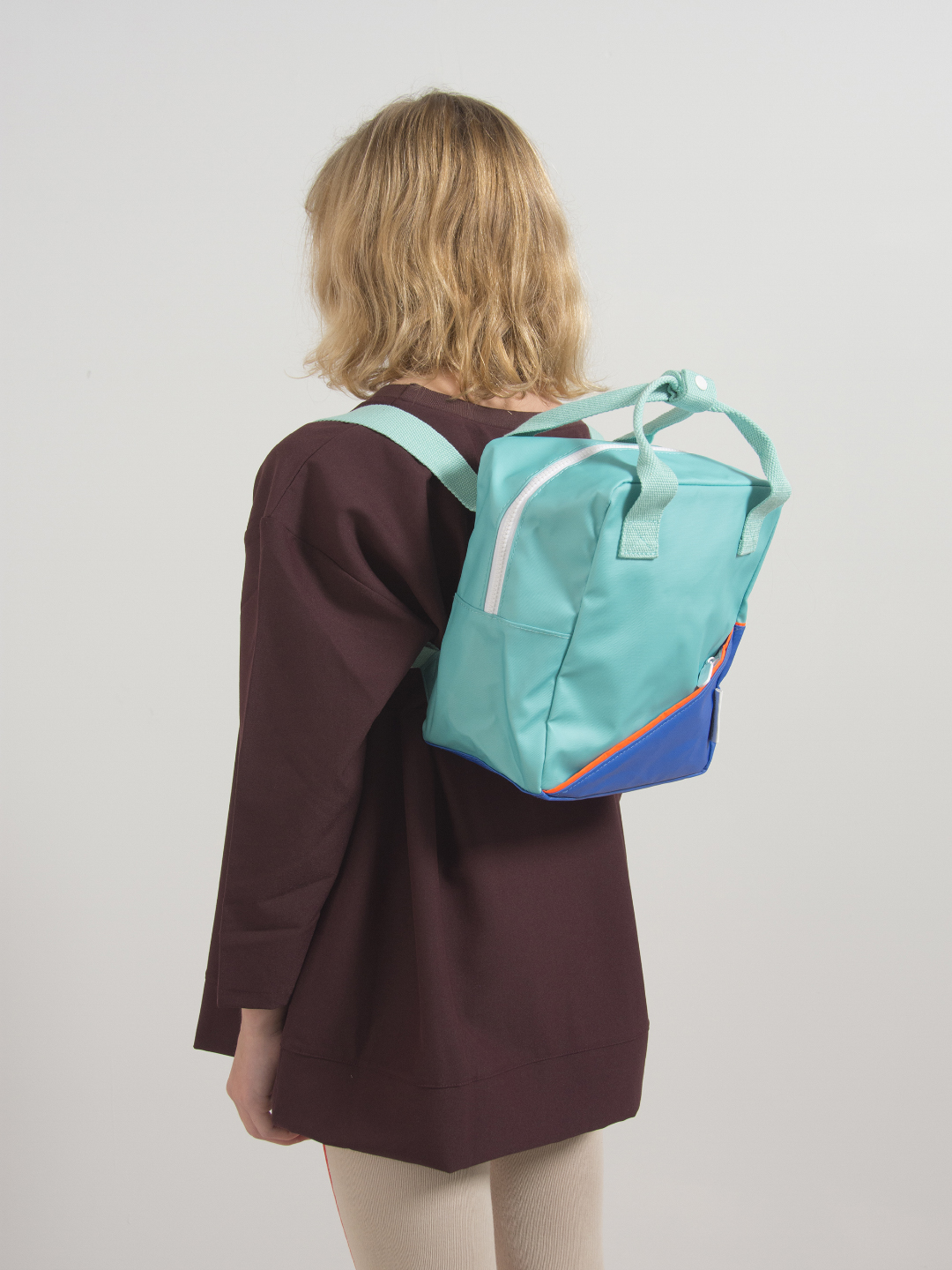 Small Backpack - Diagonal Retro Mint   Ink Blue ... db07a37ee7ab3