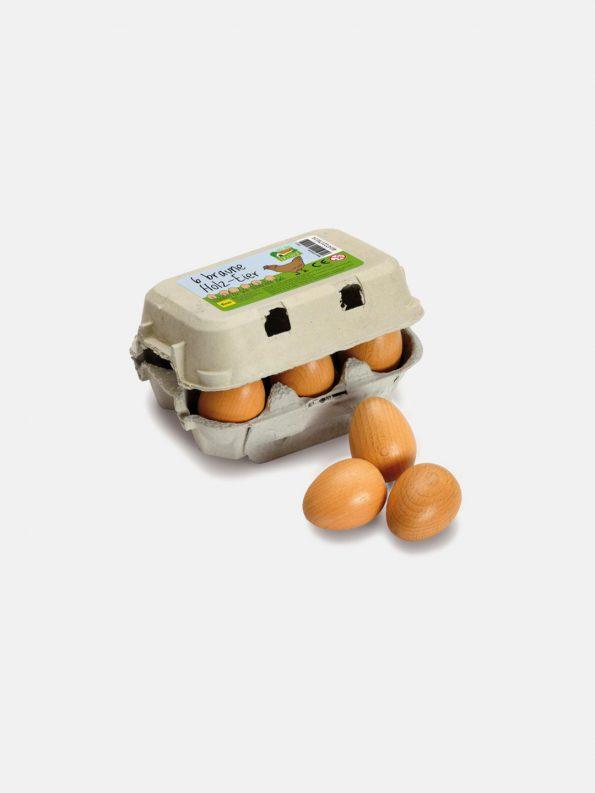Wooden Food – Brown Eggs Six Pack