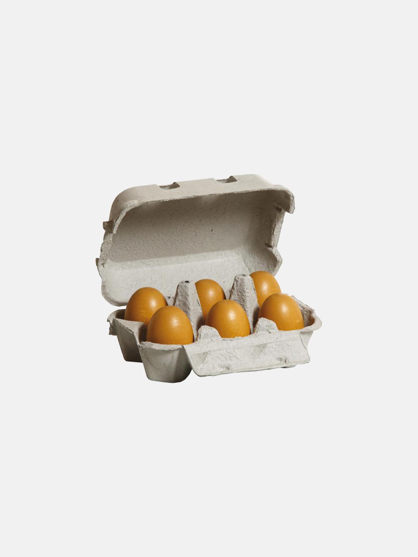 Wooden Food - Brown Eggs Six Pack