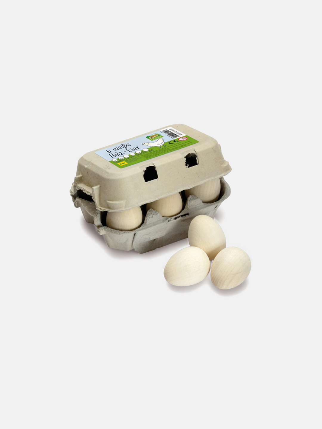 Wooden Food - White Eggs Six Pack