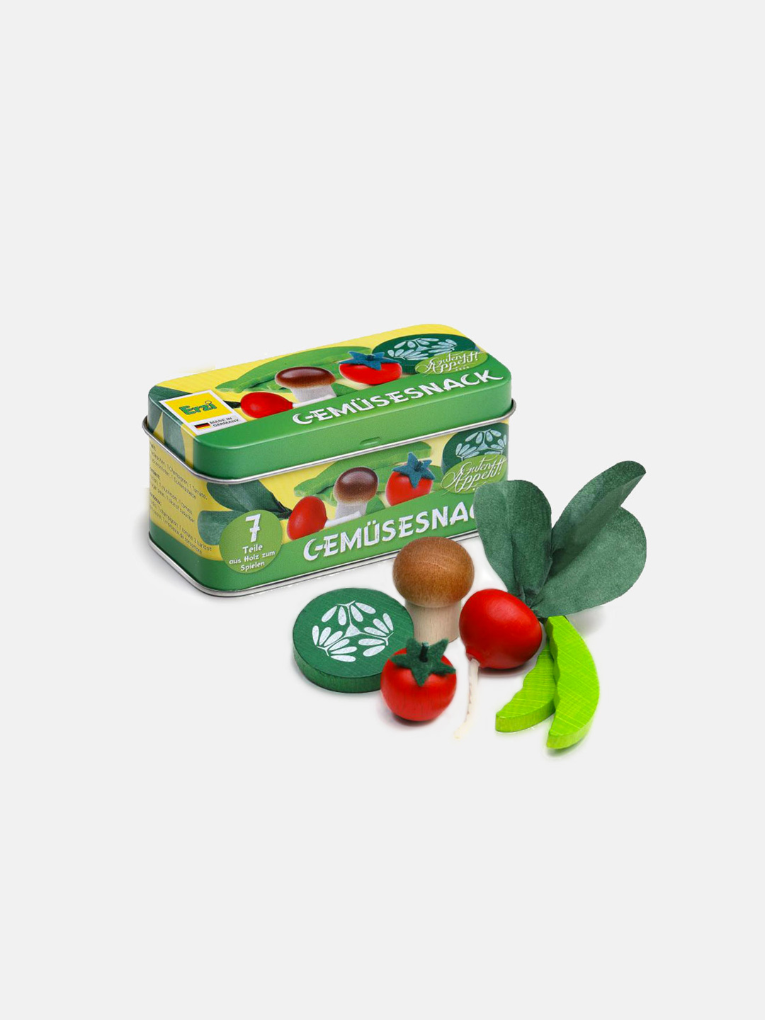 Wooden Vegetable Snacks in a Tin